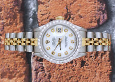 Donna in Acciaio e Oro Mocio Diamond Dial & Perline Set diamanti lunetta Rolex Datejust.