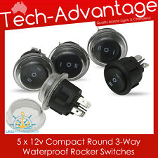 5 X 12V WATERPROOF 3-WAY / THREE-WAY ON/OFF/ON ROCKER SWITCHES - BOAT/CAR/4X4