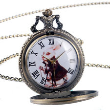 Retro Bronze Alice in Wonderland Cute Rabbit Quartz Pocket Watch Women Girl Gift