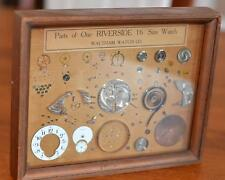 FRAMED DISPLAY - PARTS OF ONE RIVERSIDE 19j16 size WATCH by WALTHAM WATCH CO