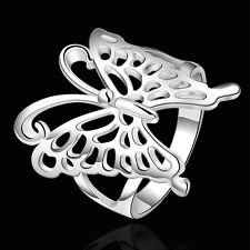 925 Sterling Silver Butterfly Plain Band Ring Size 8 B10