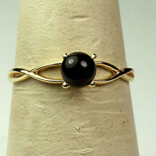 14K solid yellow gold gorgeous elegant 5mm cabochon black Onyx ring