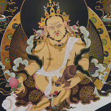 "FORTUNE GOD YELLOW JAMBHALA & LUCKY MOUSE 48"" BROCADED WOOD SCROLL BLACK THANGKA"