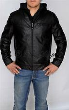 New Mens Kenneth Cole Faux Leather Jacket Coat Detachable Hooded Black Large