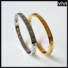 Titan Armband Love Römische Ziffer Armreif Klappverschluss Bracelet farbe-silber