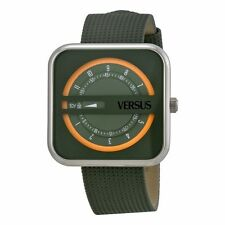 Versus by Versace Womens SGH020013 Kyoto Square Gray Genuine Date Leather Watch