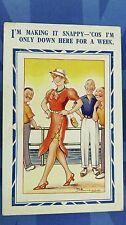 Risque Reg Maurice Comic Postcard 1930s Pin Up Silk Stockings Garter Belt Theme