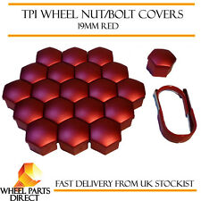 TPI Red Wheel Bolt Nut Covers 19mm for Alfa Romeo 164 4 Stud 87-92