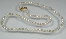 "32"" AAA 7.5-8mm perfect round white akoya pearls necklace 14k gold clasp"