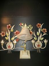 Vintage Shabby Chic Metal Tole Ware Wall Scones and  Table Lamp