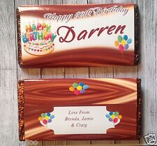 PERSONALISED Birthday Cake CHOCOLATE BAR WRAPPER fits Galaxy 114g Birthday Gift