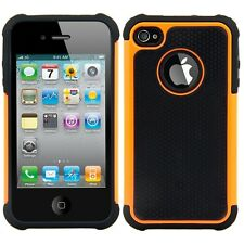 kwmobile Hybrid Schutz Hülle für Apple Iphone 4 4S Orange Schwarz Case Cover