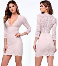 NWT bebe ivory nude overall lace scallop plunge deep v top dress M medium 6 8