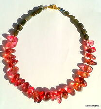 Pink Agate and Labradorite Gemstone Beaded Necklace. Amazing colors and sparkle