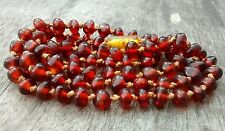 "29 1/2"" Vintage Knotted 1/4"" Natural Pebble  Beads Honey Amber 16.2 g Necklace"