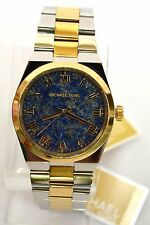 NWT MICHAEL KORS MK5893 CHANNING BLUE DIAL SILVER&GOLD TONE Watch AUTHENTIC