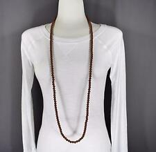 "Brown super extra long bead 44"" necklace beaded wrap double look"