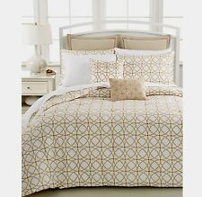 Barbara Barry Corso 100% Cotton Cognac-White/Gold Full/Queen Duvet Cover