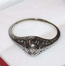 *BIG SALE* 14K GOLD ANTIQUE EDWARDIAN DIAMOND ART DECO FILIGREE RING SIZE 7.25