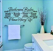 Bathroom Rules Quote Removable Wall Sticker Vinyl Art Decals Mural Home Decor wn