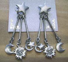 NWT- PEWTER HIPPIE/HOBO DANGLEY STAR, CRESCENT MOON,SUN PIERCED EARRINGS