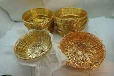 "RESTAURANT BREAD BASKETS VINTAGE WIRE BRASS WOVEN COMMERCIAL 8"" ROUND LOT 13"