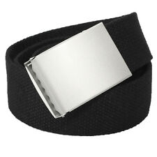 MNEW Mens Web Military Canvas Black Belt Metal Silver Buckle