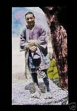 GLASS MAGIC LANTERN SLIDE PEASANT MAN C1920 JAPANESE JAPAN