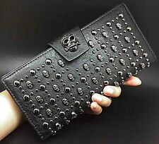 Womens Lady Leather Punk Retro Skull Studded Handbag Clutch Wallet Pouch