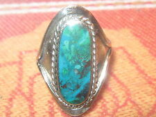 ALPACA SILVER SOUTHWEST CHRYSOCOLLA BLUE TURQUOISE ADJUSTABLE RING SIZE 7-10