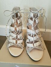 Banana Republic Laney Lace-Up Cage Heels Sandal, White Snake Print NIB SZ 7.5 M