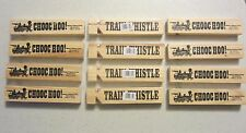 "12 NEW WOODEN TRAIN WHISTLES 5"" WOOD RAILROAD STEAM LOCOMOTIVE WHISTLE CHOO CHOO"