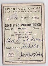 FERROVIE DELLO STATO 1975 BIGLIETTO CHILOMETRICO VIAGGI GRATUITI  21-153