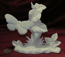 Ceramic Bisque Butterfly and Flower on Rock Base Ready to Paint Pre-Order