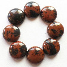 LARGE 15mm ROUND CABOCHON-CUT NATURAL AFRICAN MAHOGANY OBSIDIAN GEMSTONE £1 NR!