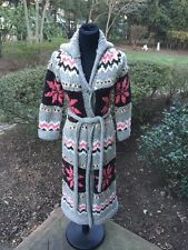 WOMENS J CREW HAND KNIT LONG CARDIGAN SWEATER BELTED SIZE SMALL EUC