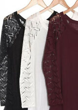Cut out Crochet Lace Mesh Sleeves Casual LONG Sleeve Loose Fit Jersey Tee Top