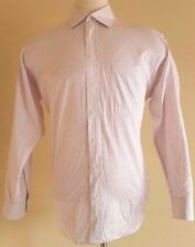 BURBERRY London SHIRT 17 R Mens WHITE Checked RED Spread COLLAR Cotton USA Size*