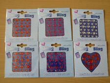 Heart shaped faceted Gems for Cards, assorted size stones, 6 packs, Bling