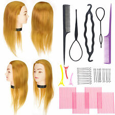 Synthetic Hair Cosmetology Salon Training Head Practice Mannequin + Braid tool *