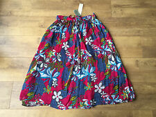 FLORAL A-LINE SKIRT Pink & Blue Boho Gypsy UK 10 / EUR 38 - NEW
