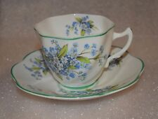 EUC Crownford Fine Bone China Tea Cup And Saucer Blue Flowers Green Trim England
