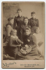 CABINET CARD PORTRAIT FAMILY GROUP HOLDING HATS. ROCKFORD, ILLINOIS.