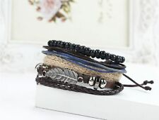 Elegant Men's Braided Leather Stainless Steel Cuff Bangle Bracelet Wristband
