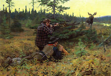 Calling the Moose  by Phillip R Goodwin   Giclee Canvas Print Repro