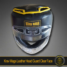 Krav Maga LEATHER Head Guard  PADDED TOP, 360 CLEAR VIEW ABS Plastic, Sparring