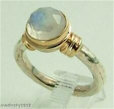 Hadar Designers Israel 925 Sterling Silver 9k Gold Moonstone Ring any size (r104