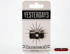 "35mm Camera 1.25"" Hard Enamel Silver Plated Lapel Pin Yesterdays.Co"