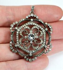 Antique Large SOLID SILVER & PASTE Ornate Tiered Target Flower LARGE Pendant