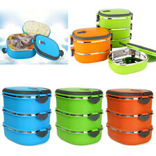 Blue 1Layer Stainless Steel Insulated Bento Food Storage Container Lunch Box New